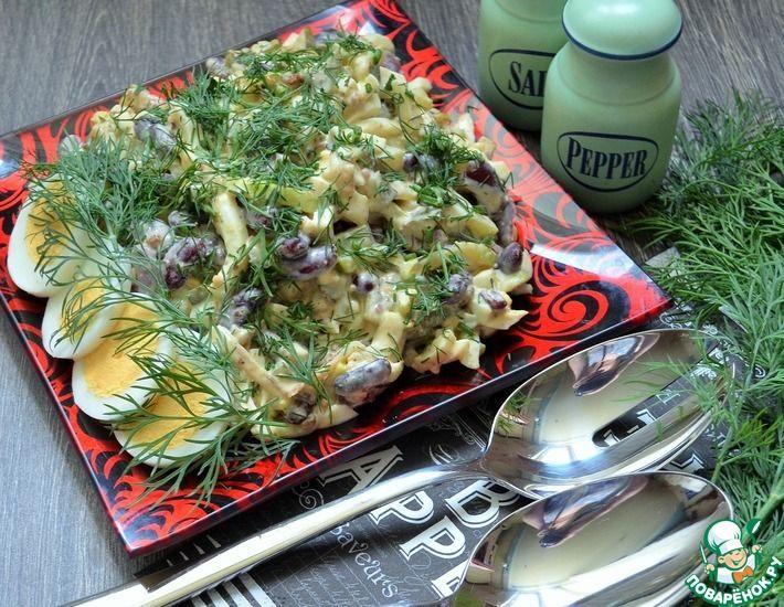 Рецепт: Салат с фасолью и жареными кабачками