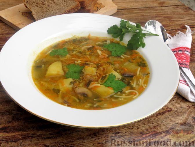 Фото к рецепту: Грибной суп с щавелем и вермишелью
