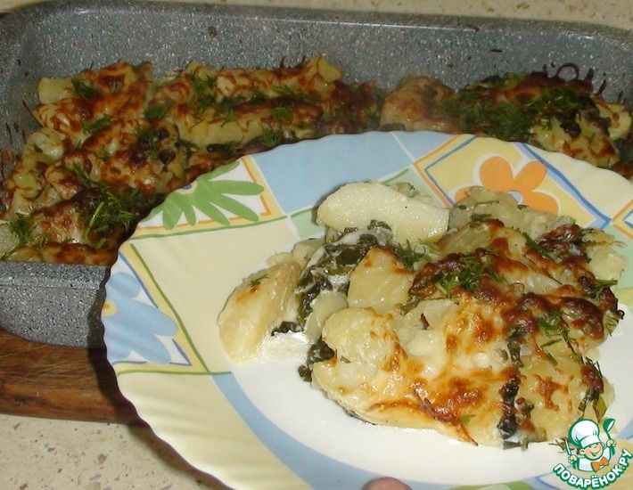 Рецепт: Картофель со шпинатом и сыром