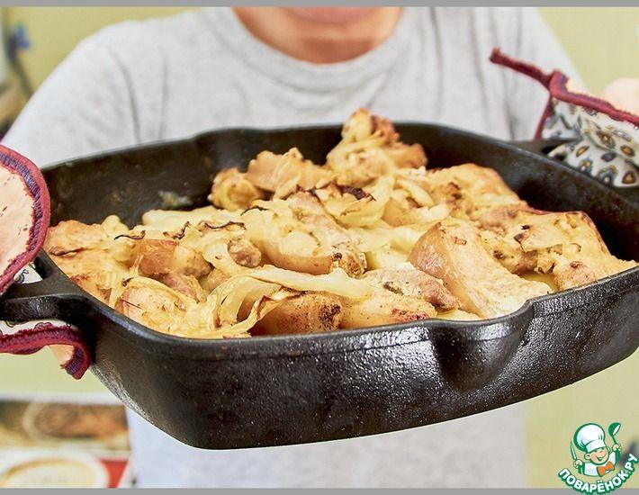 Рецепт: Картофель с грудинкой и луком в духовке