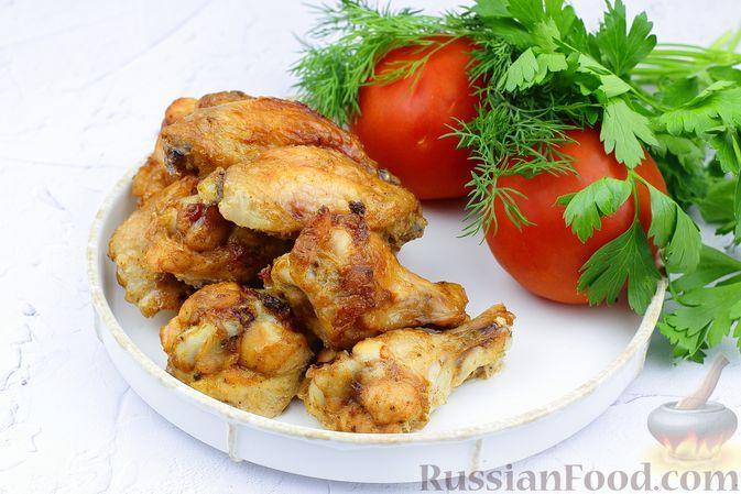 Фото к рецепту: Куриные крылышки в горчично-майонезном маринаде с аджикой (в духовке)