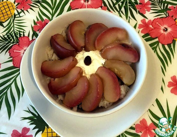 Рецепт: Отварной рис с яблоками и творогом