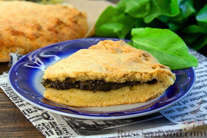 Фото к рецепту: Сладкий песочный пирог со щавелем