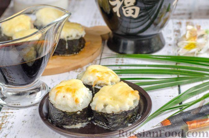 Фото к рецепту: Запечённые роллы с куриным филе и икрой мойвы