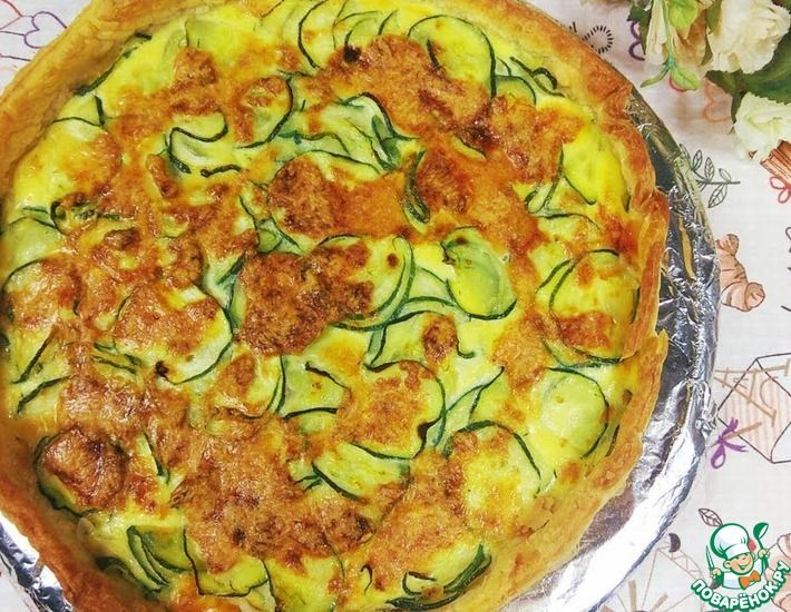 Рецепт: Открытый пирог с цуккини и моцареллой