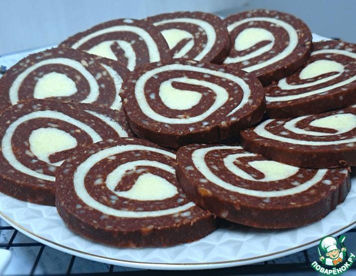 Рецепт: Печенье с кокосовой начинкой без выпечки