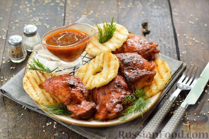 Фото к рецепту: Курица в кисло-сладком ананасовом маринаде (в духовке)