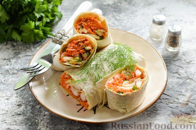 Фото к рецепту: Лаваш с начинкой из корейской моркови и редиса