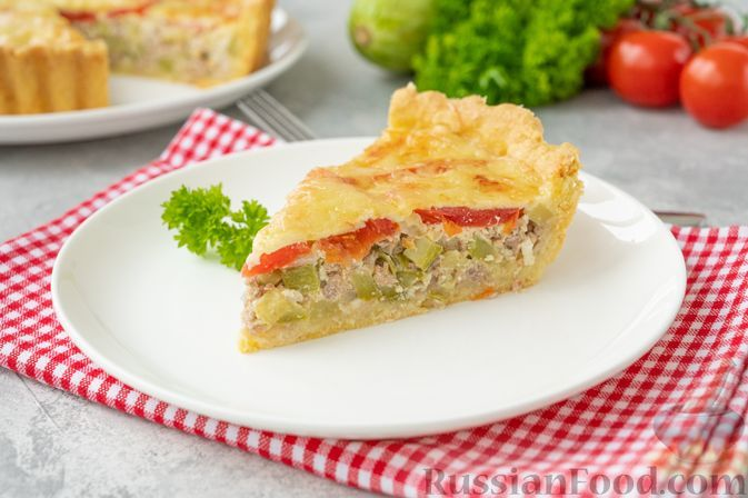 Фото к рецепту: Киш с кабачками, фаршем и помидорами