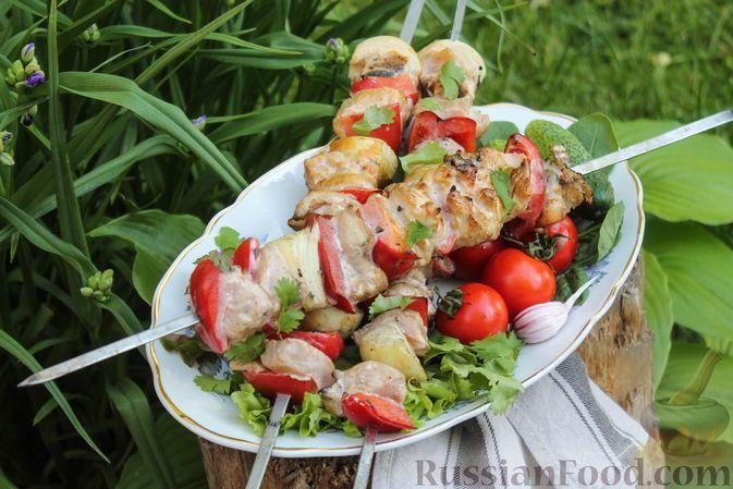 Фото к рецепту: Куриный шашлык со сладким перцем, в пряном йогуртово-томатном маринаде