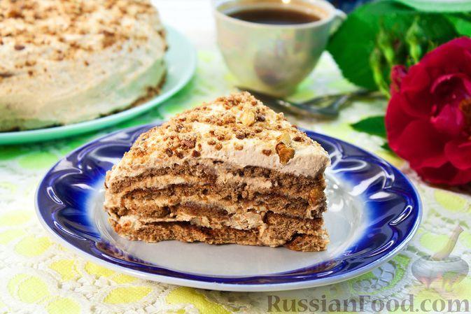 Фото к рецепту: Торт из пряников с творожным сыром, сгущенкой и грецкими орехами (без выпечки)