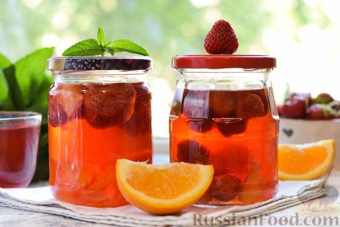 Фото к рецепту: Клубничный компот с апельсином (на зиму)