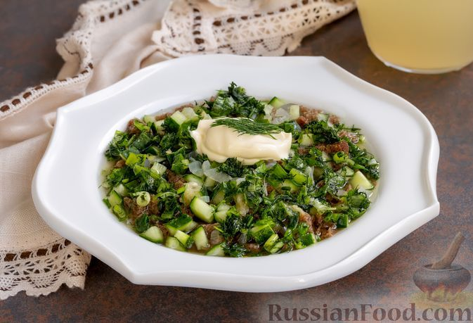Фото к рецепту: Тюря с печёным луком, на квасе