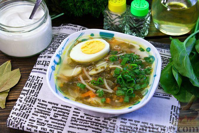 Фото к рецепту: Куриный суп со щавелем и вермишелью