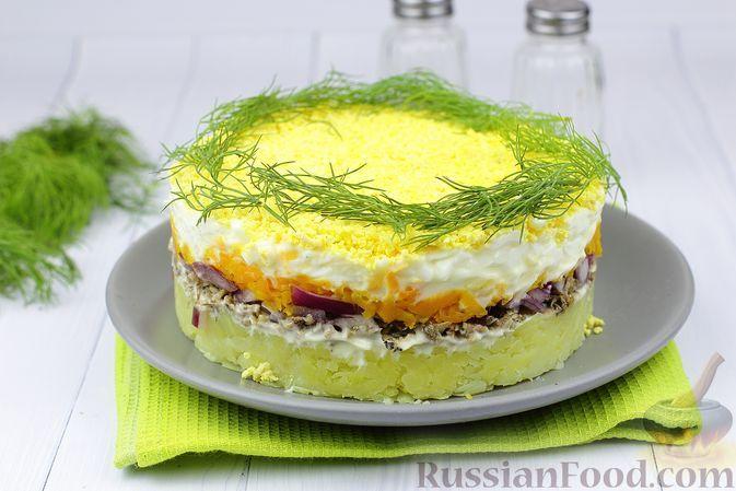 "Фото к рецепту: Салат ""Мимоза"" со шпротами"