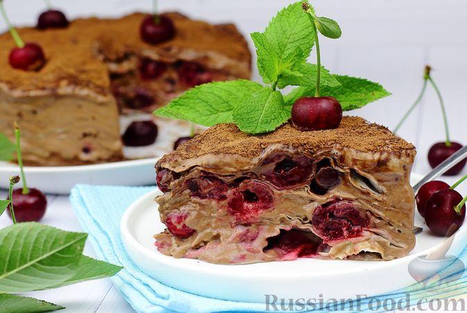 Фото к рецепту: Торт из лаваша с вишней и кремом из сметаны, сгущенки и какао