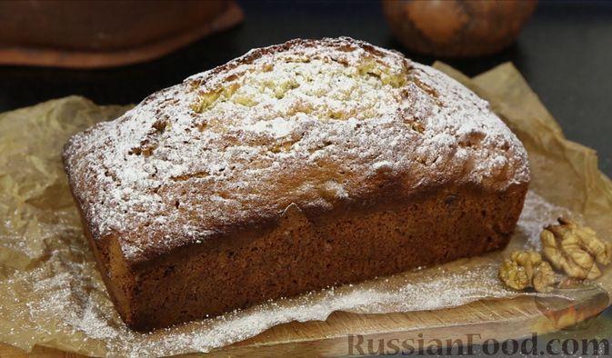 Фото к рецепту: Кекс с грецкими орехами и корицей
