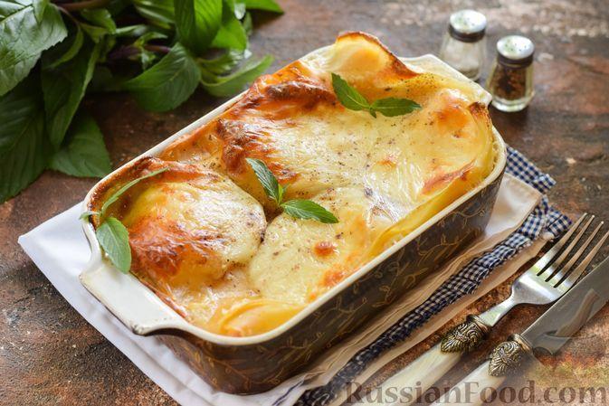 """Фото к рецепту: Сырная лазанья """"Четыре сыра"""" со сливками"""