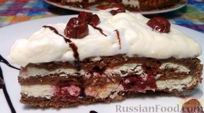 Фото к рецепту: Творожный торт с вишней, из песочного теста