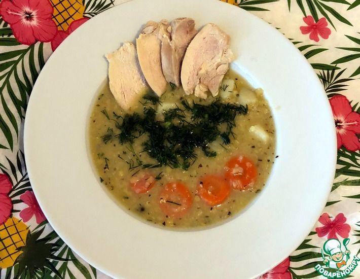 Рецепт: Куриный чечевичный суп без зажарки