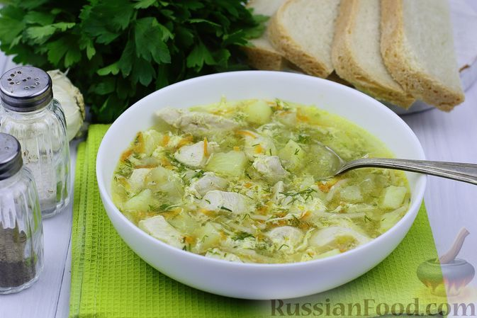 Фото к рецепту: Куриный суп с вермишелью и яйцами