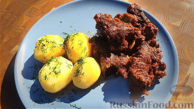 Фото к рецепту: Мясо по-кремлевски (говядина в казане на костре)