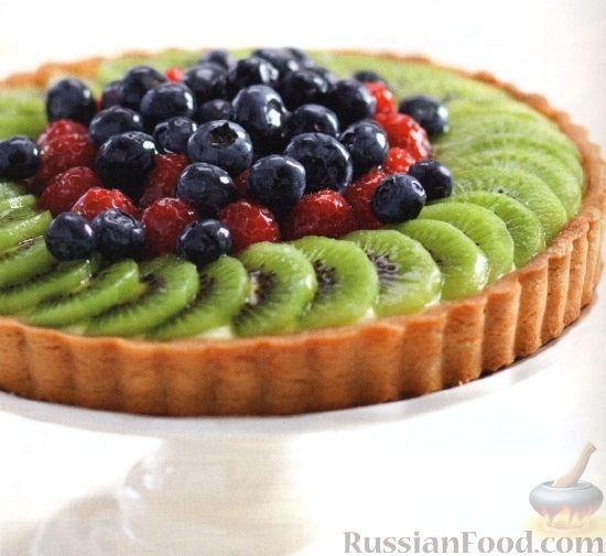 Фото к рецепту: Пирог с фруктами и заварным кремом