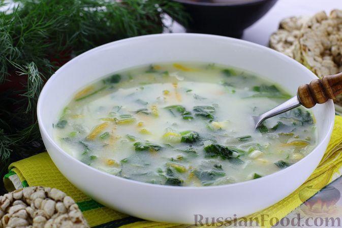 Фото к рецепту: Суп со шпинатом и плавленым сыром