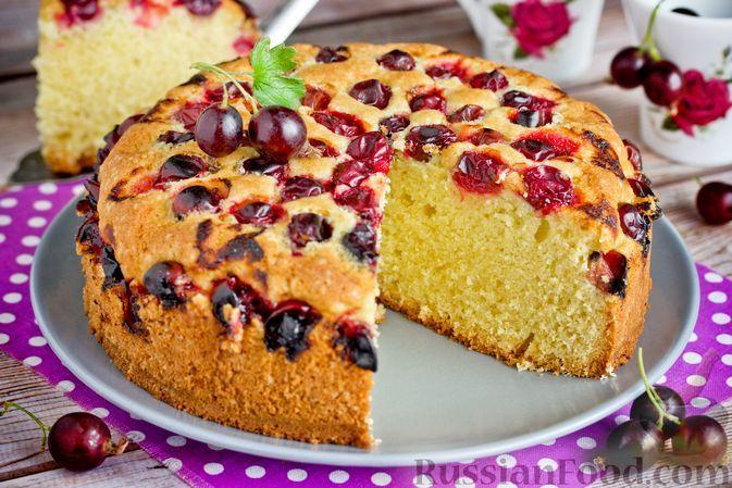 Фото к рецепту: Бисквитный пирог с крыжовником