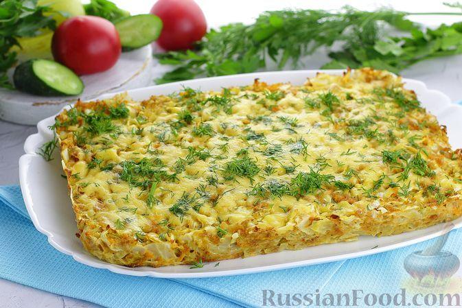 Фото к рецепту: Капустная запеканка с куриным фаршем, морковью и сыром