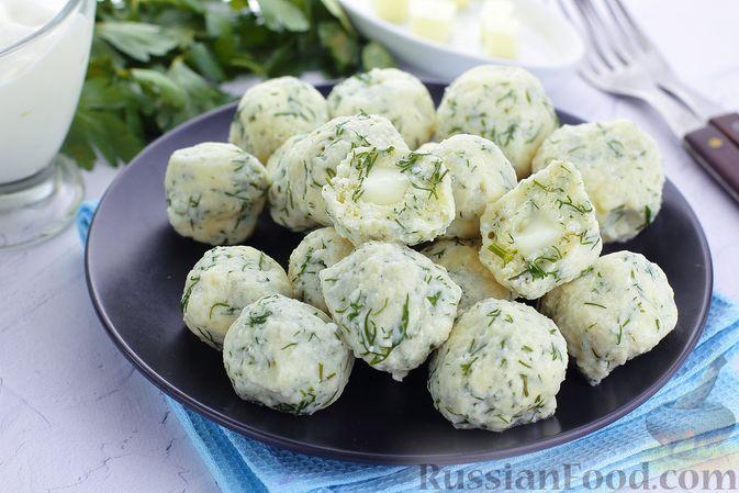 Фото к рецепту: Несладкие ленивые вареники из рисовой муки с сыром