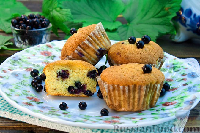 Фото к рецепту: Ванильные кексы с чёрной смородиной