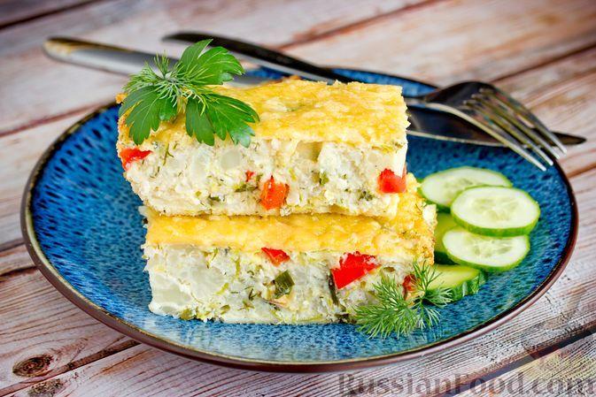 Фото к рецепту: Запеканка с кабачками, сладким перцем, цветной капустой и куриным фаршем