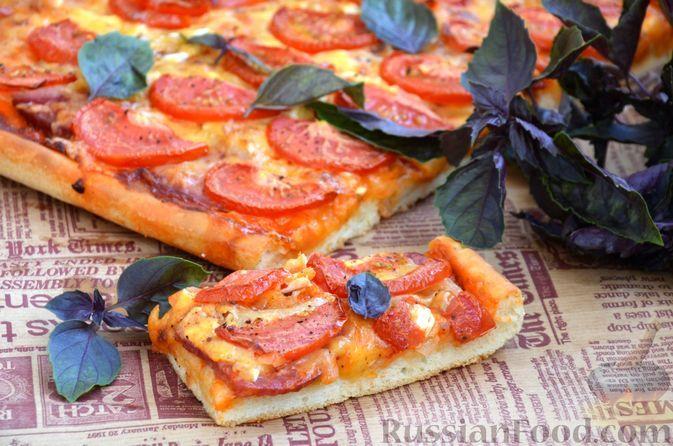 Фото к рецепту: Пицца с колбасой, луком, помидорами и сыром