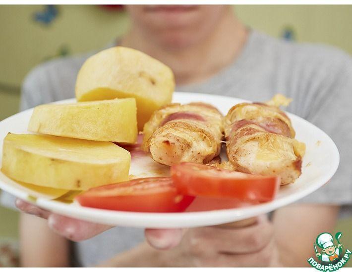 Рецепт: Rуриное филе с сыром в беконе