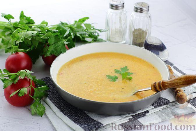 Фото к рецепту: Рисовый суп-пюре с кукурузой и помидорами