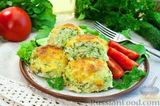 Фото к рецепту: Картофельные котлеты с кабачком и сыром (в духовке)