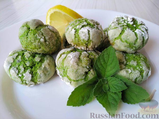 Фото к рецепту: Свежее мятное печенье с трещинками