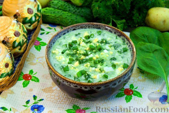 """Фото к рецепту: """"Зелёная"""" окрошка со шпинатом, на кефире"""