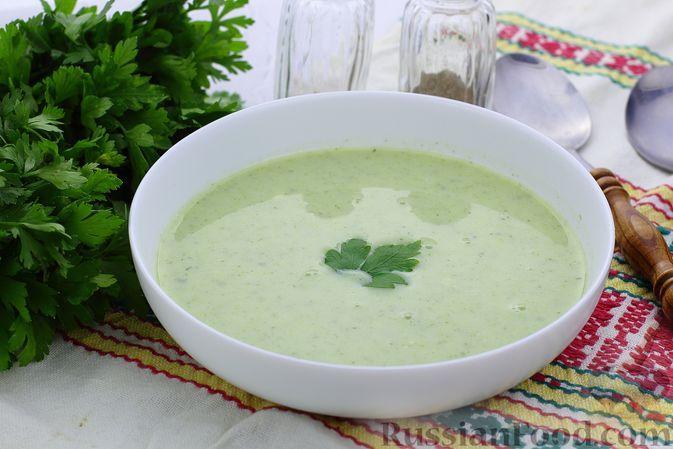 Фото к рецепту: Суп-пюре из кабачков, с петрушкой и чесноком