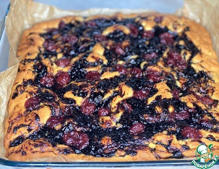 Рецепт: Пирог с вишней и повидлом