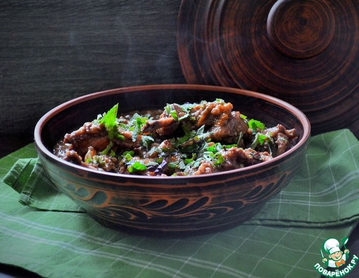 Рецепт: Баранина со сливами и грецким орехом