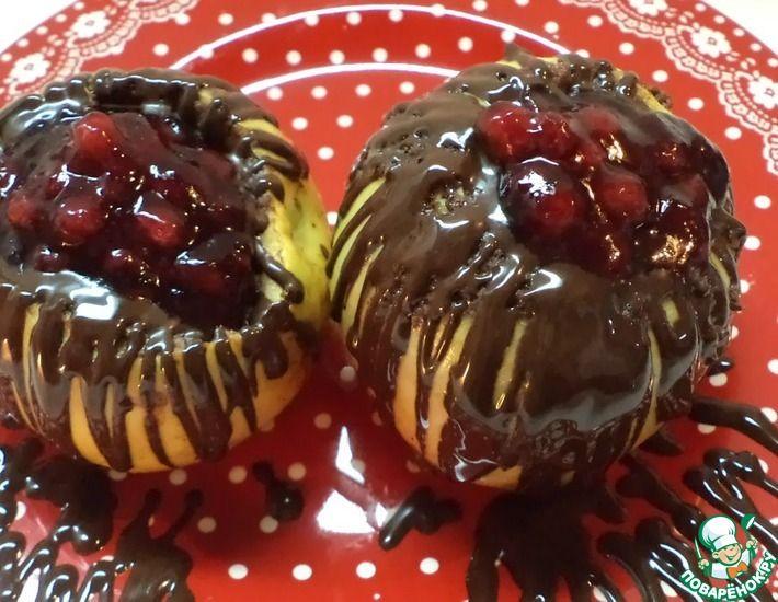 Рецепт: Яблоки запеченные, фаршированные творогом, в шоколаде
