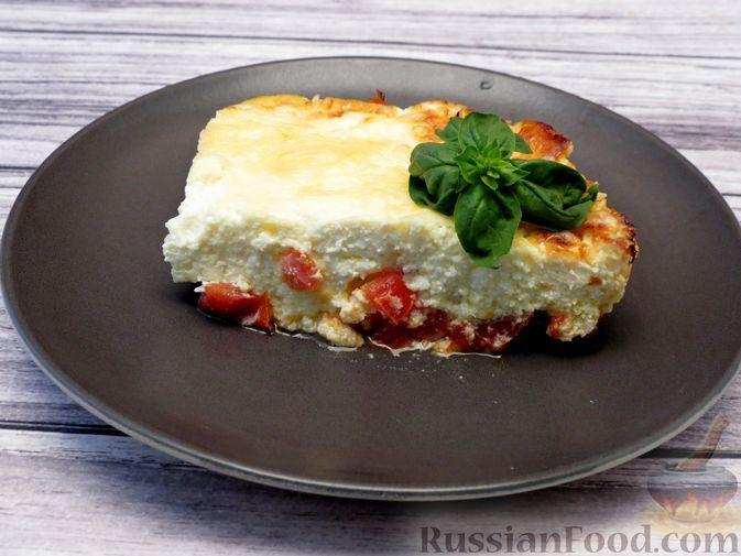 Фото к рецепту: Творожная запеканка с помидорами, яйцами и сыром