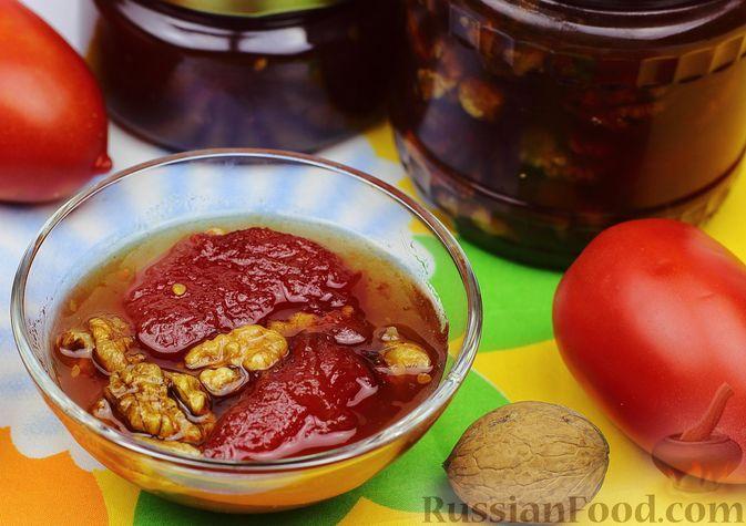 Фото к рецепту: Варенье из помидоров с грецкими орехами (на зиму)