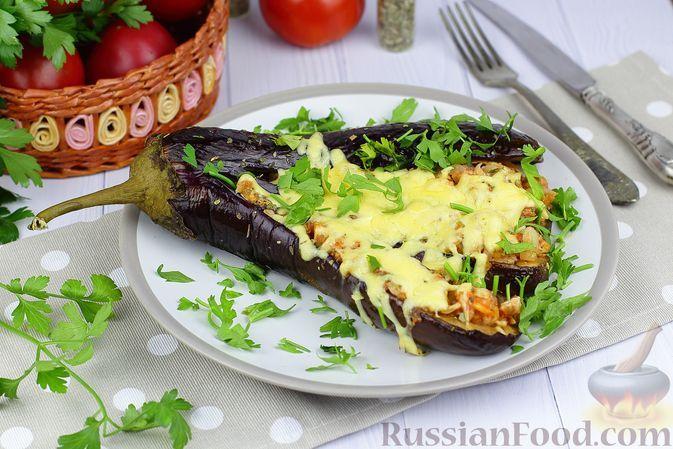 """Фото к рецепту: """"Веер"""" из баклажанов с курицей в томатном соусе (в духовке)"""