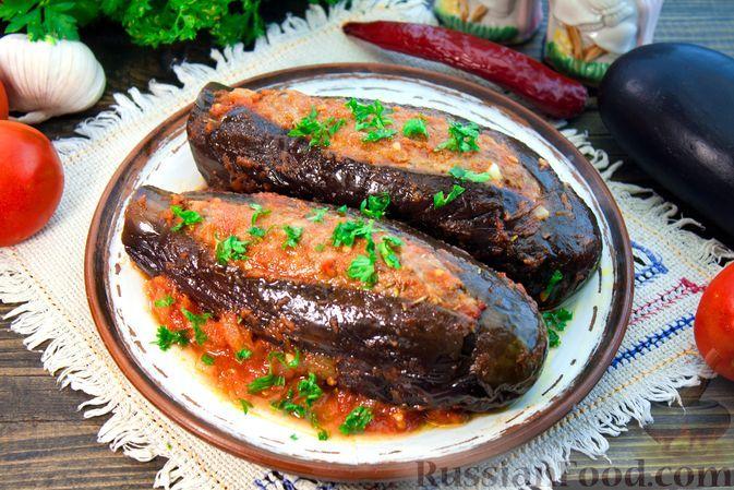 Фото к рецепту: Баклажаны с говяжьим фаршем, тушенные в томатном соусе