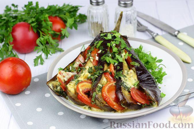 """Фото к рецепту: """"Веер"""" из баклажанов с помидорами и моцареллой"""