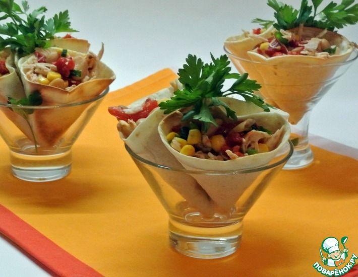 Рецепт: Закусочные рожки с начинкой