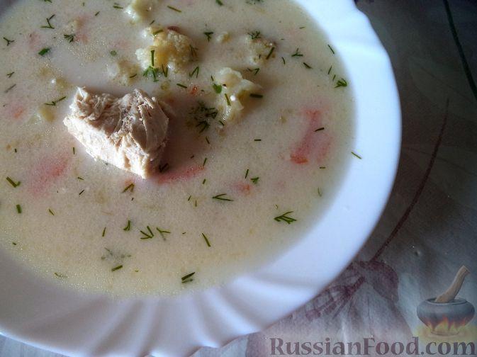Фото к рецепту: Нежный куриный суп с плавленым сыром и овощами